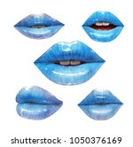 blue lips collection. mouth set....   Shutterstock .eps vector #1050376169