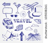 travel icons set. hand drawn...   Shutterstock .eps vector #105038261