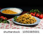 tasty indian food basmati rice... | Shutterstock . vector #1050385001