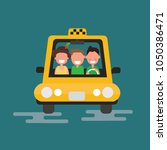 taxi car and taxi driver with... | Shutterstock .eps vector #1050386471