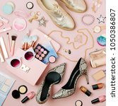 flat lay of female fashion... | Shutterstock . vector #1050386807