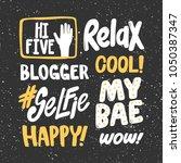 hi five relax blogger cool... | Shutterstock .eps vector #1050387347