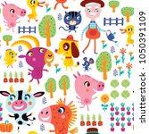 seamless pattern with cute farm ... | Shutterstock .eps vector #1050391109