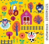 Seamless Pattern With Cute Farm ...