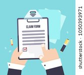 insurance claim form with... | Shutterstock .eps vector #1050393971