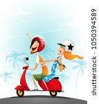 happy young couple having fun... | Shutterstock .eps vector #1050394589