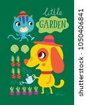 poster with cute animals a... | Shutterstock .eps vector #1050406841