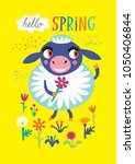 poster with a cute sheep on a... | Shutterstock .eps vector #1050406844