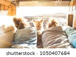 hipster couple with cute dog... | Shutterstock . vector #1050407684
