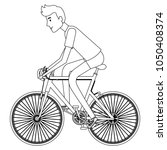 young man in bicycle | Shutterstock .eps vector #1050408374