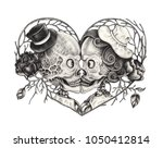 Art Surreal Kiss Skull .hand...