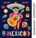 mexican man with guitar | Shutterstock .eps vector #1050425297