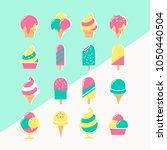 ice cream set of icons in... | Shutterstock .eps vector #1050440504