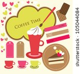 cute coffee time scrap... | Shutterstock .eps vector #105044084