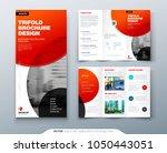 tri fold brochure design. red... | Shutterstock .eps vector #1050443051