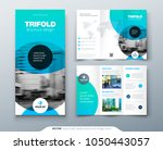 tri fold brochure design. blue...   Shutterstock .eps vector #1050443057
