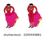 bullfighters with the cloak in... | Shutterstock .eps vector #1050444881