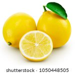 lemon fruit with leaf isolated... | Shutterstock . vector #1050448505