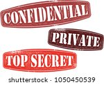 top secret private rubber stamps | Shutterstock .eps vector #1050450539
