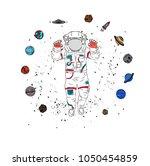 cosmonaut in space. vector... | Shutterstock .eps vector #1050454859