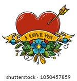 tattoo heart pierced with arrow....   Shutterstock .eps vector #1050457859