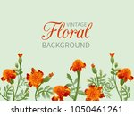 border of orange flowers of... | Shutterstock .eps vector #1050461261