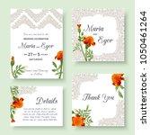 set of floral wedding... | Shutterstock .eps vector #1050461264