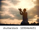 Small photo of Silhouettes Muslim prayer,the light of faith, hope, faith, supplication,Concept of Islam is the religion