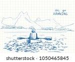 sketch of female kayaker...   Shutterstock .eps vector #1050465845