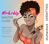 makeup master class banner with ... | Shutterstock .eps vector #1050477431