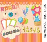 cute happy birthday scrap set.... | Shutterstock .eps vector #105047885