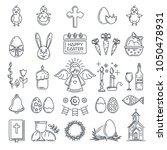 easter line icon set.... | Shutterstock .eps vector #1050478931
