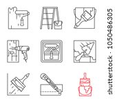 construction tools linear icons ... | Shutterstock .eps vector #1050486305