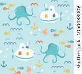 underwater creatures.cute... | Shutterstock .eps vector #1050488009