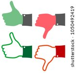 red and green feedback thumbs... | Shutterstock .eps vector #1050492419