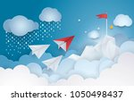 project startup. paper plane... | Shutterstock .eps vector #1050498437