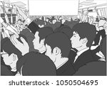 illustration of crowded metro ... | Shutterstock .eps vector #1050504695