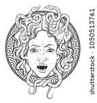 medusa gorgon head on a shield... | Shutterstock .eps vector #1050513761