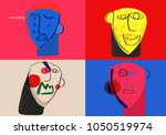 basic human emotions. colorful... | Shutterstock . vector #1050519974
