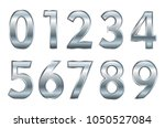 metal numbers set.vector silver ... | Shutterstock .eps vector #1050527084