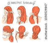 hairstyle braids  tutorial... | Shutterstock .eps vector #1050529847