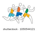 running race line art.  three... | Shutterstock .eps vector #1050544121