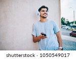 cheerful hipster blogger...   Shutterstock . vector #1050549017
