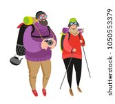 happy people hiking together.... | Shutterstock .eps vector #1050553379