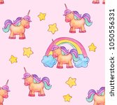 cute kids unicorn with stars... | Shutterstock . vector #1050556331