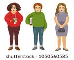 body positive fat girls with... | Shutterstock .eps vector #1050560585
