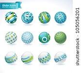 set of vector abstract globe...   Shutterstock .eps vector #105056201