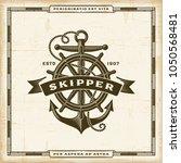 vintage skipper label | Shutterstock . vector #1050568481