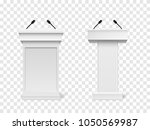 set of vector white podium... | Shutterstock .eps vector #1050569987