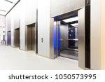 modern steel elevator opened...   Shutterstock . vector #1050573995